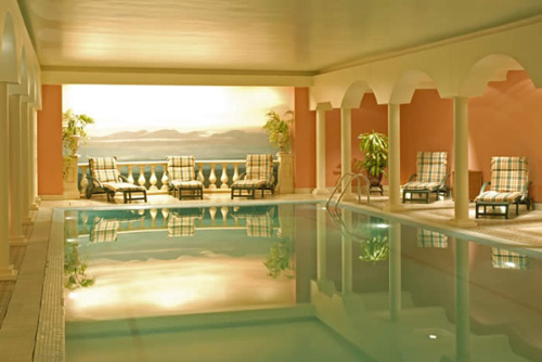 luxury private indoor pool and lighting
